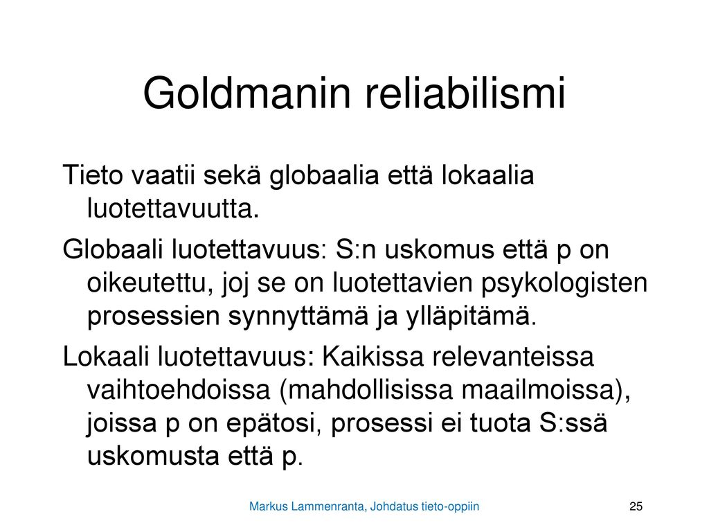 Goldmanin reliabilismi