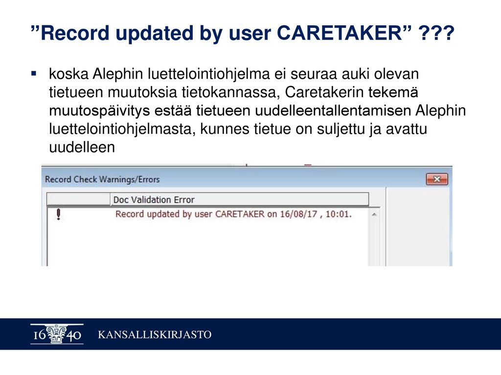 Record updated by user CARETAKER
