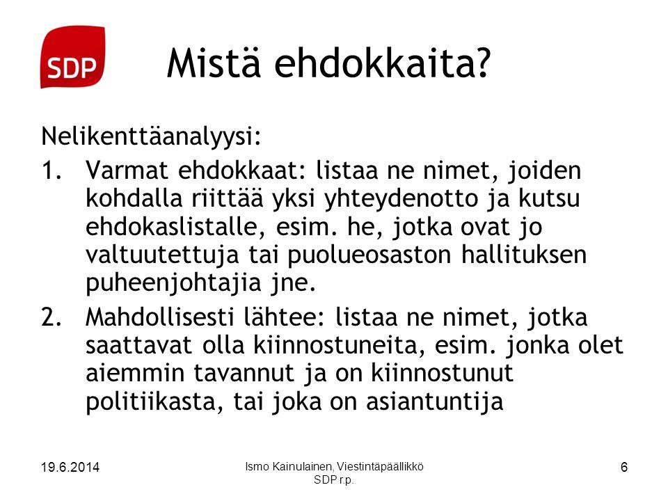 Ismo Kainulainen, Viestintäpäällikkö SDP r.p.