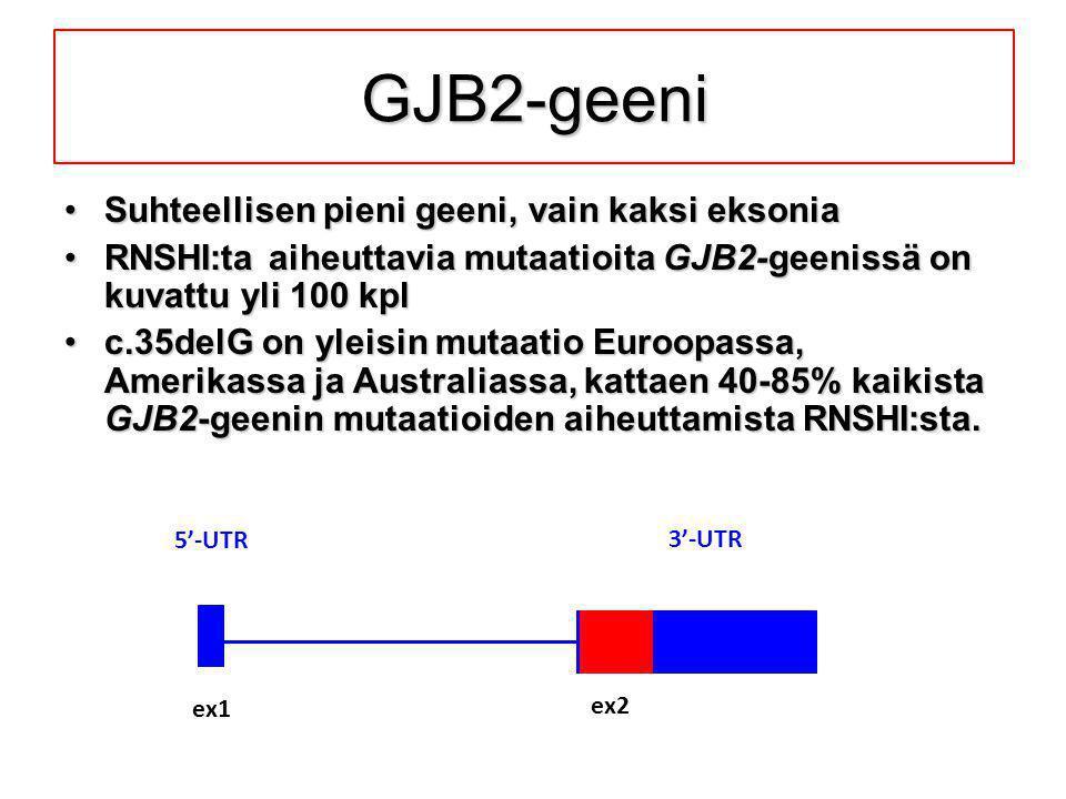GJB2-geeni Suhteellisen pieni geeni, vain kaksi eksonia