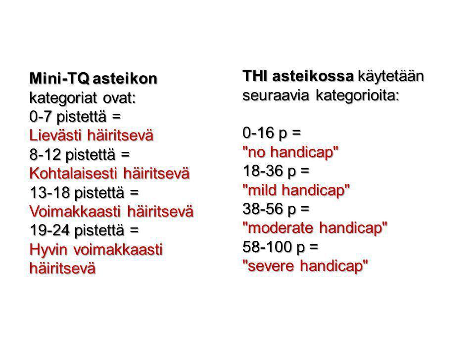 Mini-TQ asteikon kategoriat ovat: 0-7 pistettä =