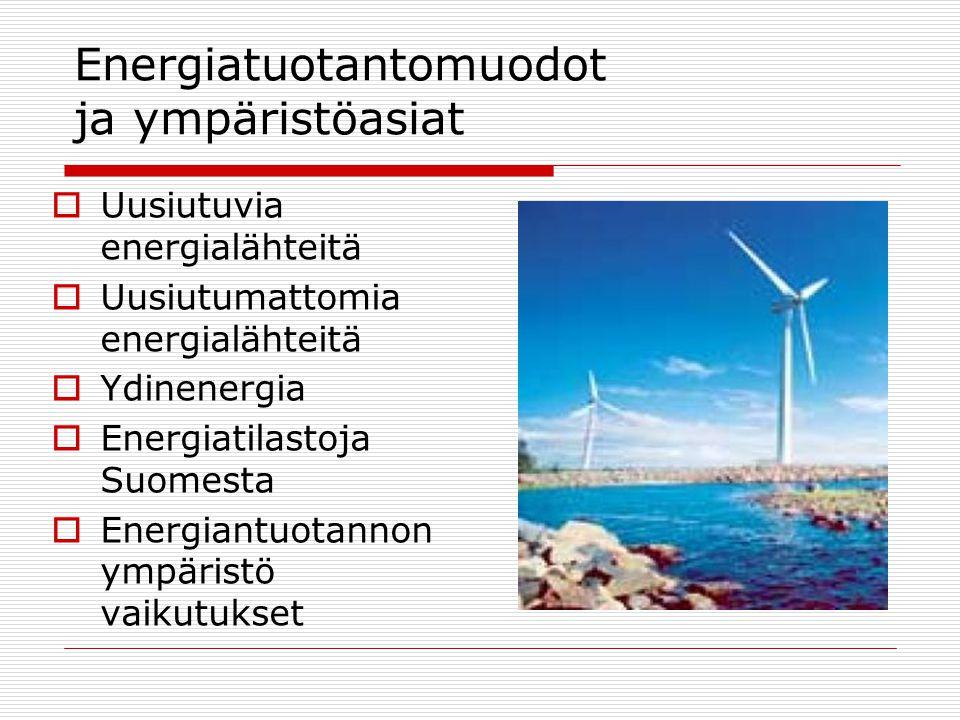 Energiatuotantomuodot ja ympäristöasiat