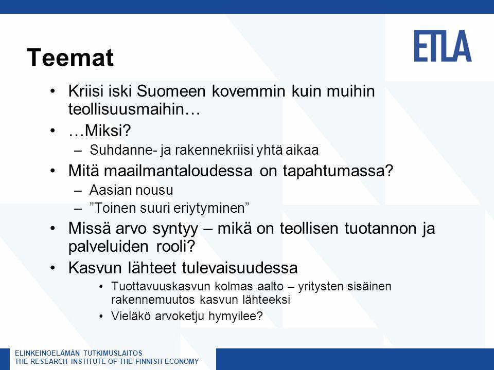 Teemat Kriisi iski Suomeen kovemmin kuin muihin teollisuusmaihin…