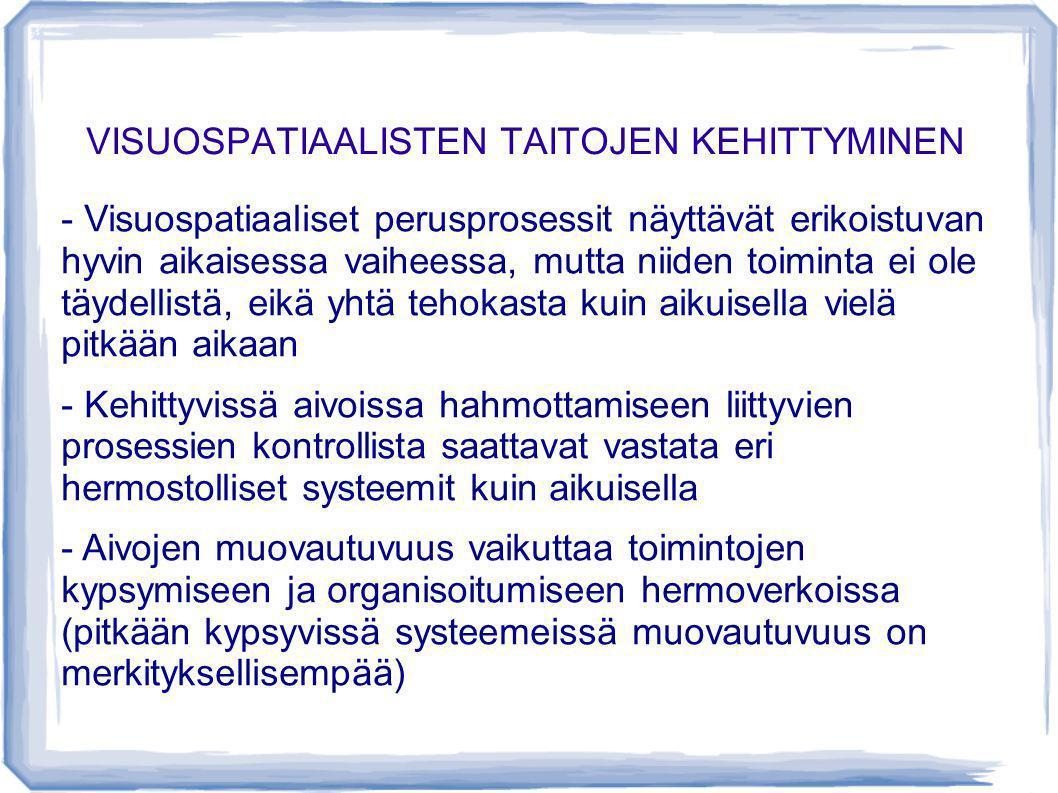 VISUOSPATIAALISTEN TAITOJEN KEHITTYMINEN