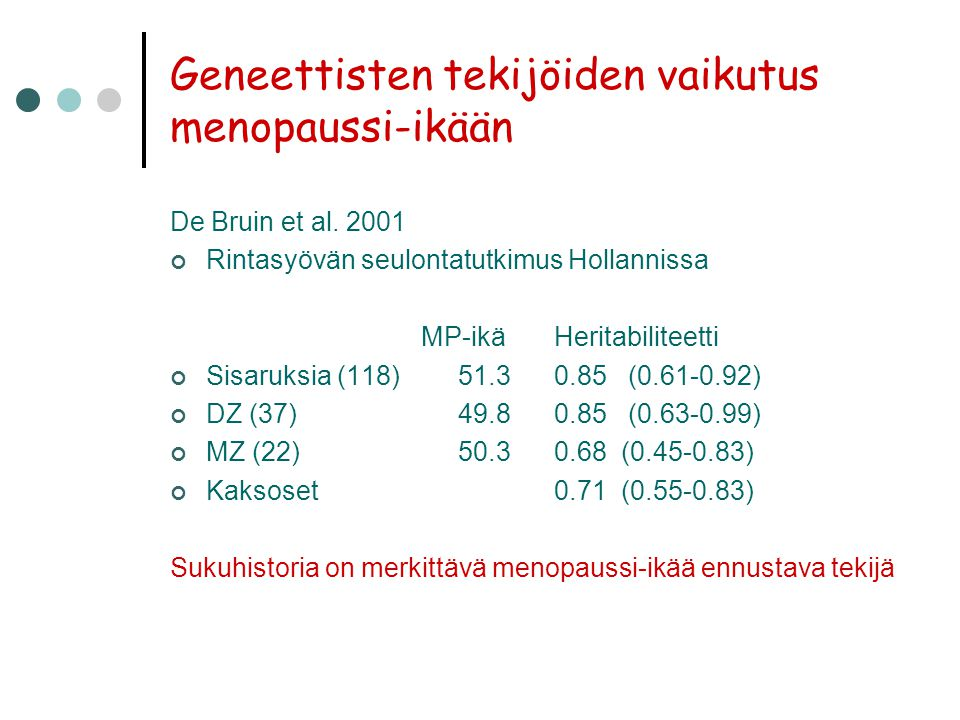 Geneettisten tekijöiden vaikutus menopaussi-ikään