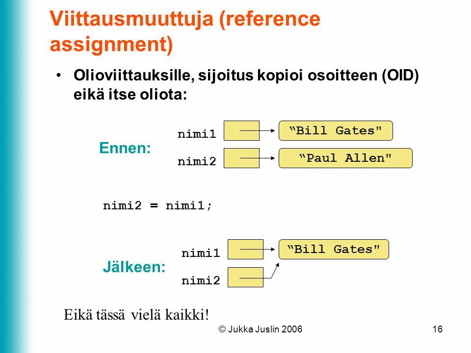 Viittausmuuttuja (reference assignment)