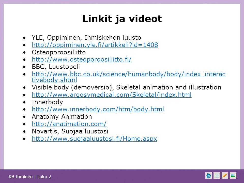 Linkit ja videot YLE, Oppiminen, Ihmiskehon luusto