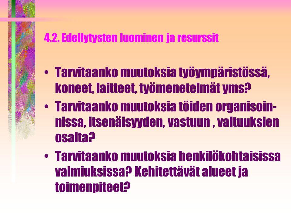 4.2. Edellytysten luominen ja resurssit