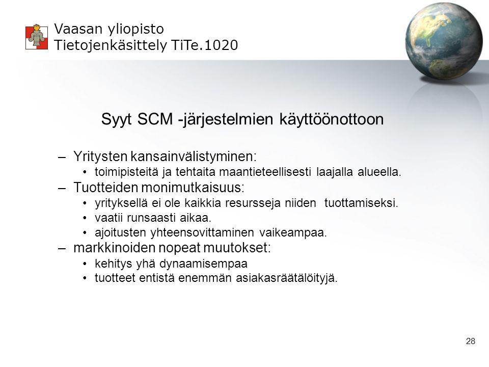 Syyt SCM -järjestelmien käyttöönottoon