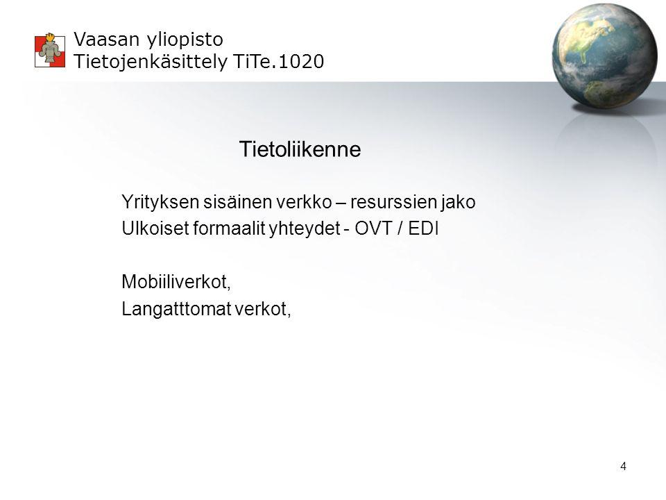 Tietoliikenne Yrityksen sisäinen verkko – resurssien jako Ulkoiset formaalit yhteydet - OVT / EDI Mobiiliverkot, Langatttomat verkot,
