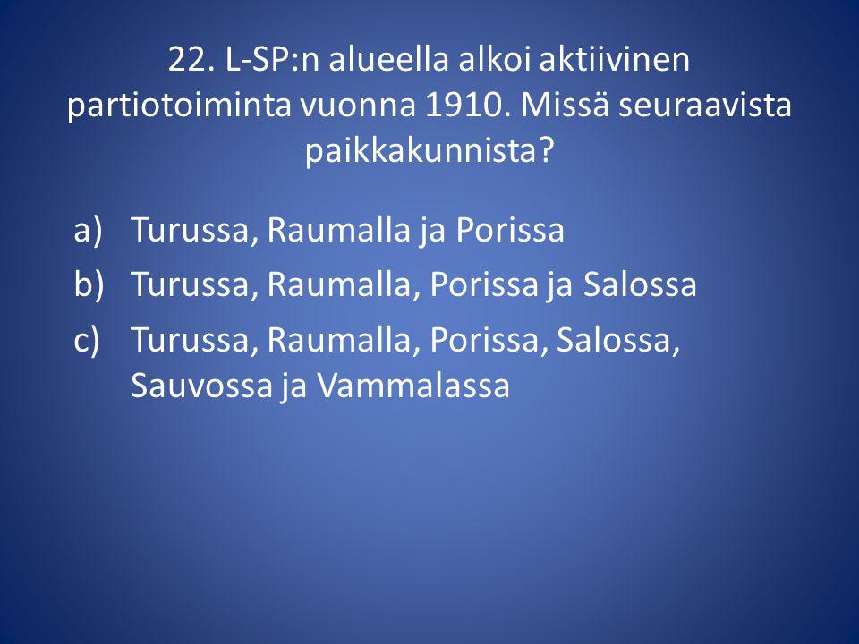 22. L-SP:n alueella alkoi aktiivinen partiotoiminta vuonna 1910