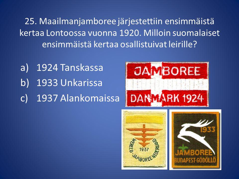 1924 Tanskassa 1933 Unkarissa 1937 Alankomaissa