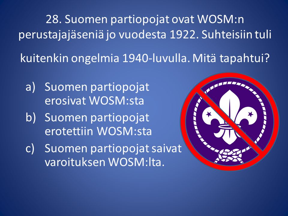 28. Suomen partiopojat ovat WOSM:n perustajajäseniä jo vuodesta 1922