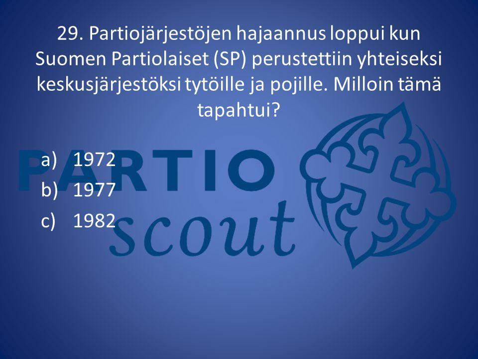 29. Partiojärjestöjen hajaannus loppui kun Suomen Partiolaiset (SP) perustettiin yhteiseksi keskusjärjestöksi tytöille ja pojille. Milloin tämä tapahtui