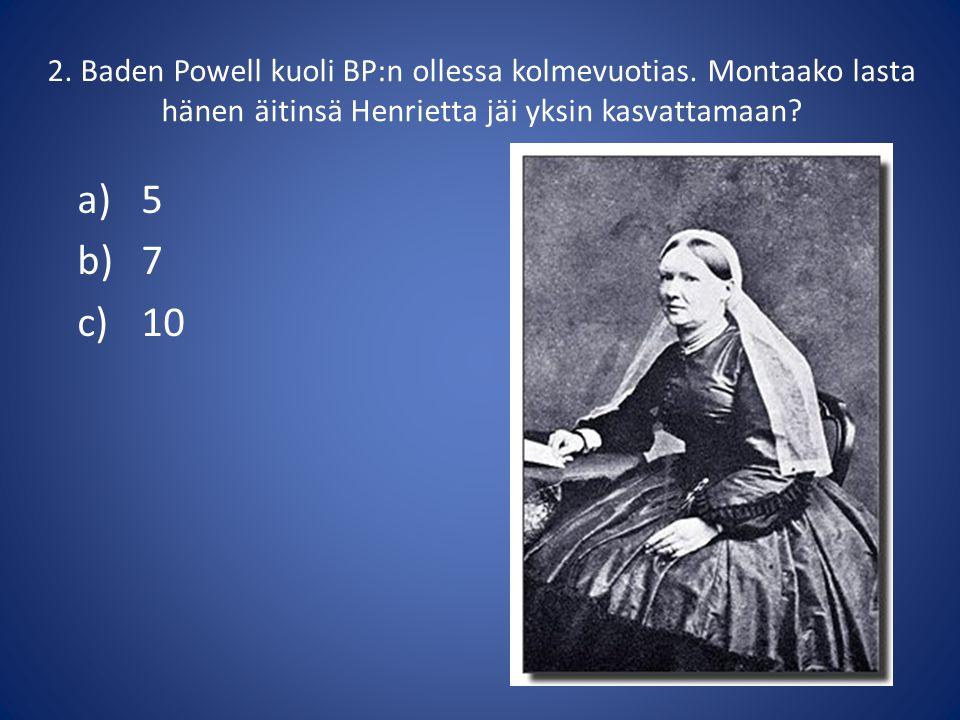 2. Baden Powell kuoli BP:n ollessa kolmevuotias