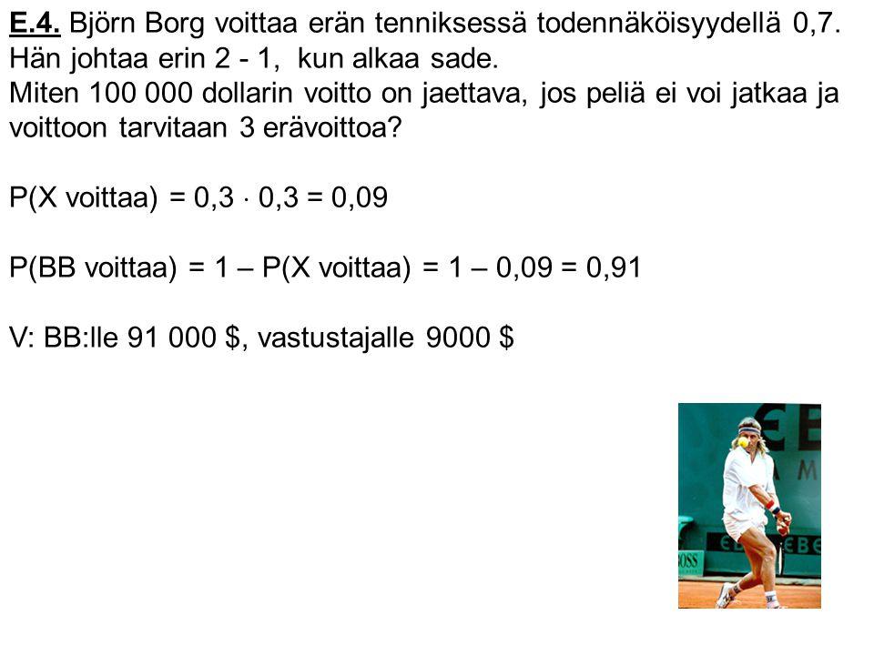E.4. Björn Borg voittaa erän tenniksessä todennäköisyydellä 0,7.