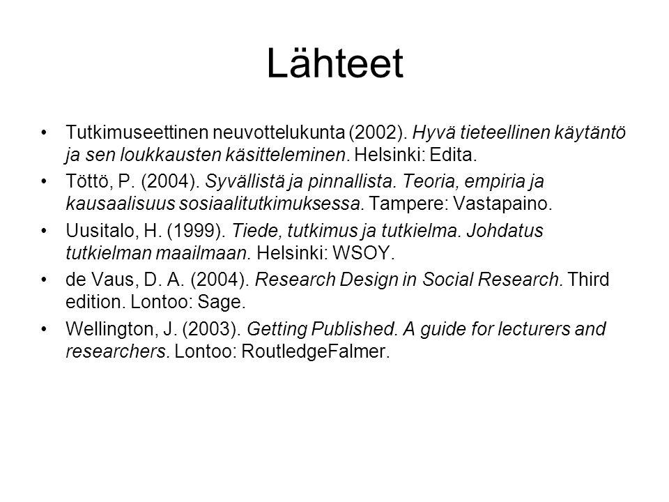 Lähteet Tutkimuseettinen neuvottelukunta (2002). Hyvä tieteellinen käytäntö ja sen loukkausten käsitteleminen. Helsinki: Edita.