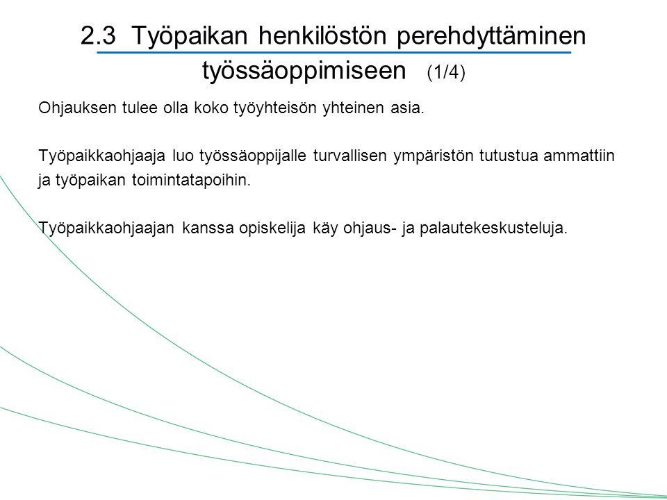 2.3 Työpaikan henkilöstön perehdyttäminen työssäoppimiseen (1/4)