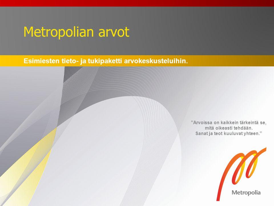 Metropolian arvot Esimiesten tieto- ja tukipaketti arvokeskusteluihin.