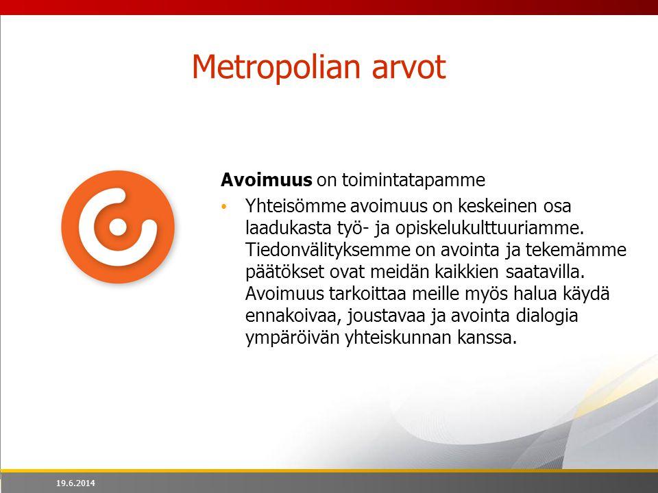 Metropolian arvot Avoimuus on toimintatapamme