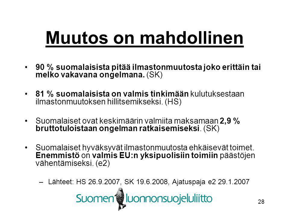 Muutos on mahdollinen 90 % suomalaisista pitää ilmastonmuutosta joko erittäin tai melko vakavana ongelmana. (SK)