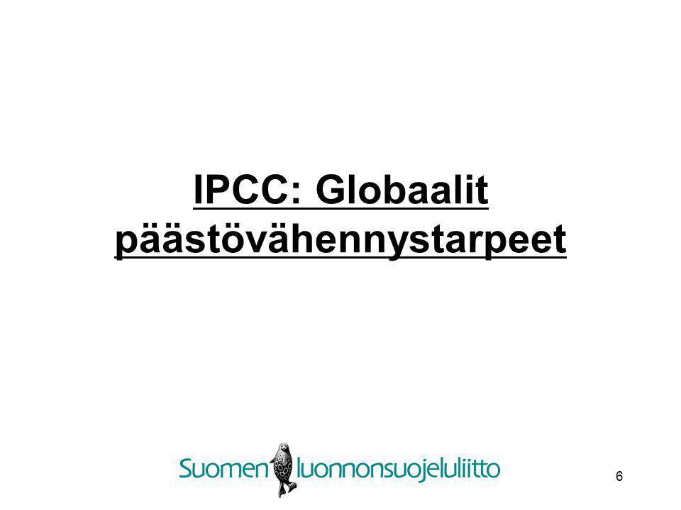 IPCC: Globaalit päästövähennystarpeet