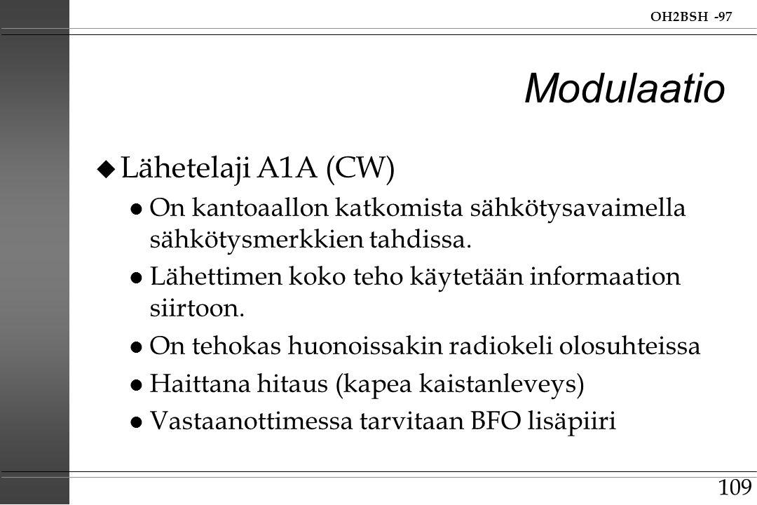 Modulaatio Lähetelaji A1A (CW)