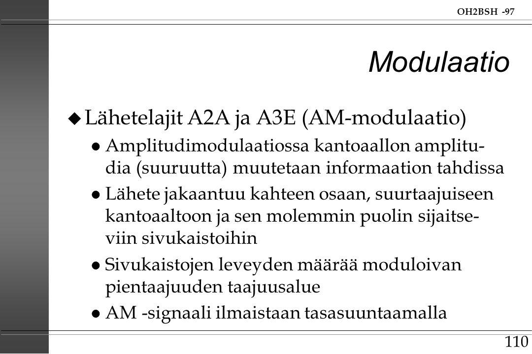 Modulaatio Lähetelajit A2A ja A3E (AM-modulaatio)