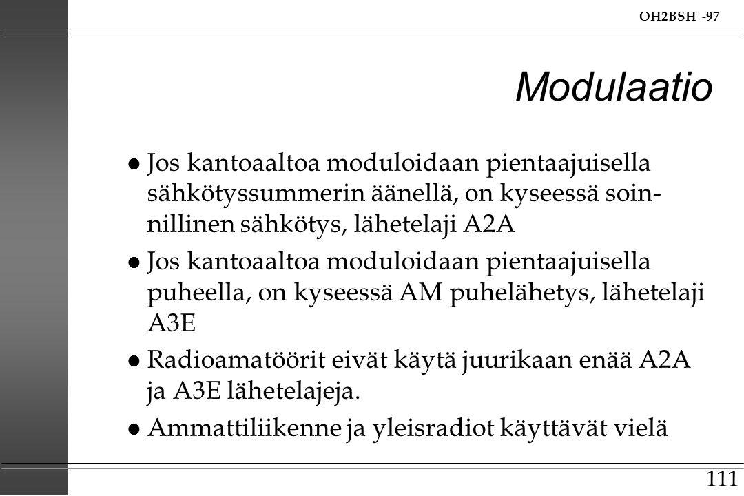 Modulaatio Jos kantoaaltoa moduloidaan pientaajuisella sähkötyssummerin äänellä, on kyseessä soin-nillinen sähkötys, lähetelaji A2A.