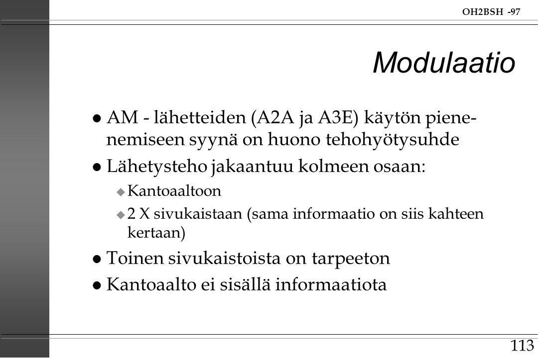 Modulaatio AM - lähetteiden (A2A ja A3E) käytön piene-nemiseen syynä on huono tehohyötysuhde. Lähetysteho jakaantuu kolmeen osaan:
