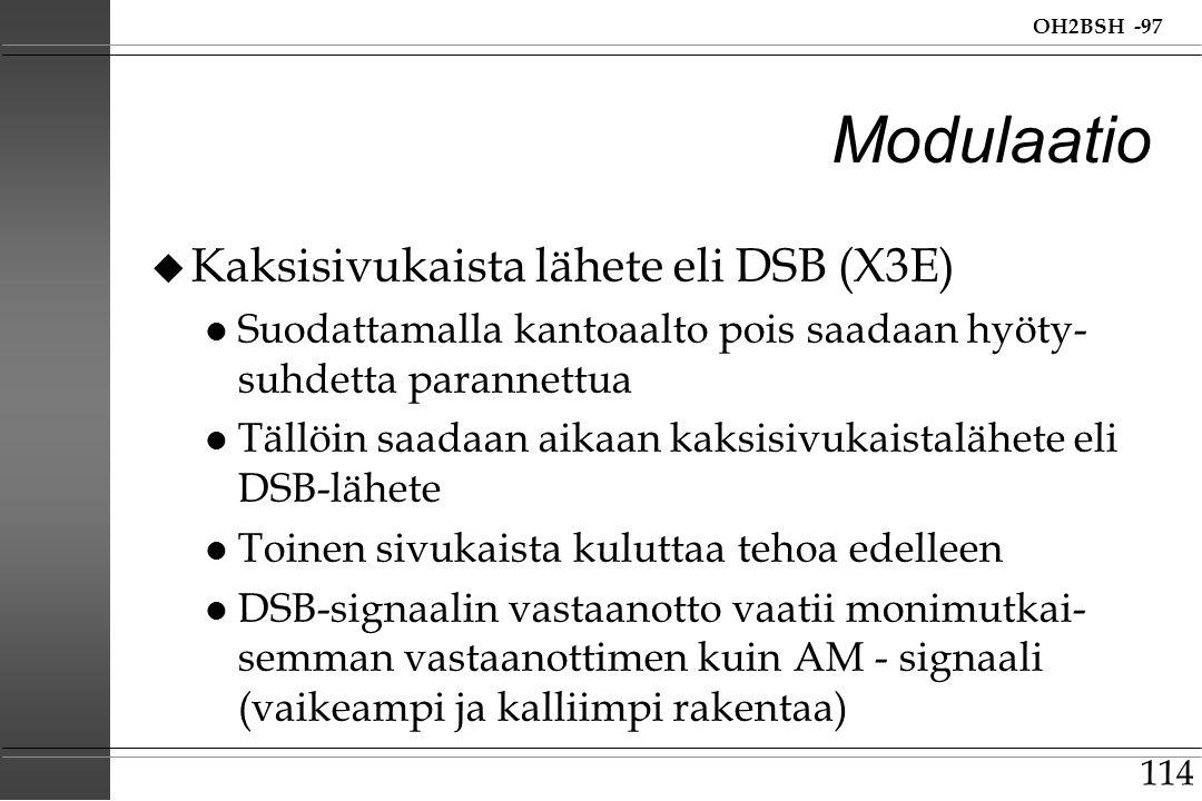 Modulaatio Kaksisivukaista lähete eli DSB (X3E)