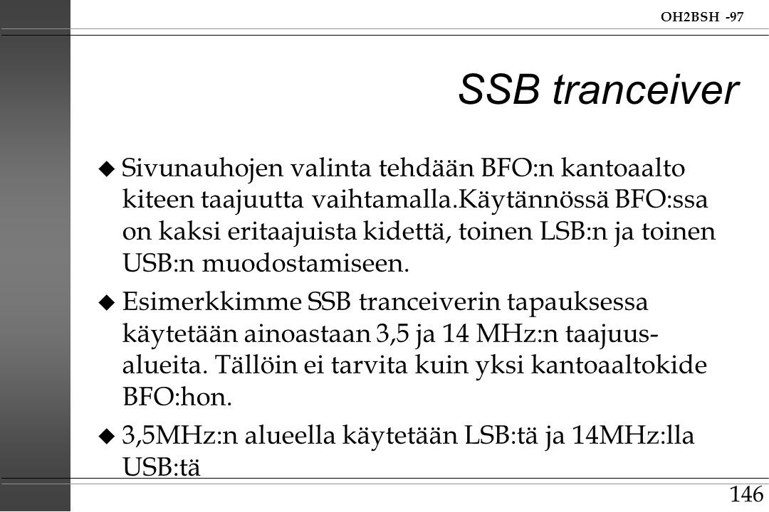 SSB tranceiver