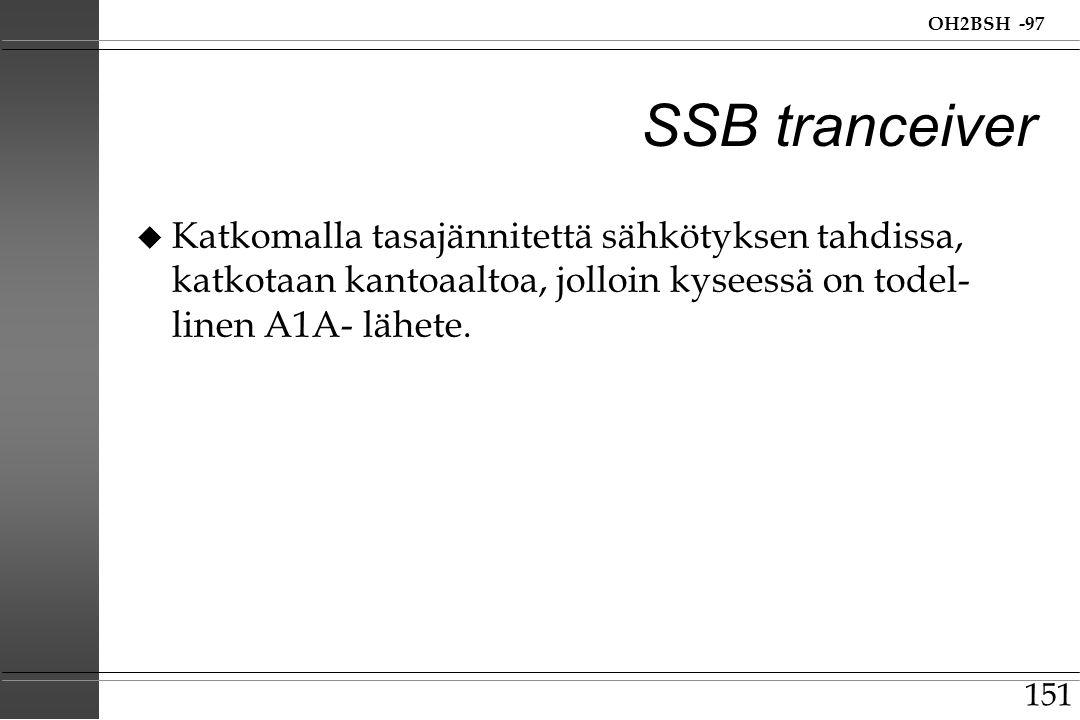 SSB tranceiver Katkomalla tasajännitettä sähkötyksen tahdissa, katkotaan kantoaaltoa, jolloin kyseessä on todel-linen A1A- lähete.