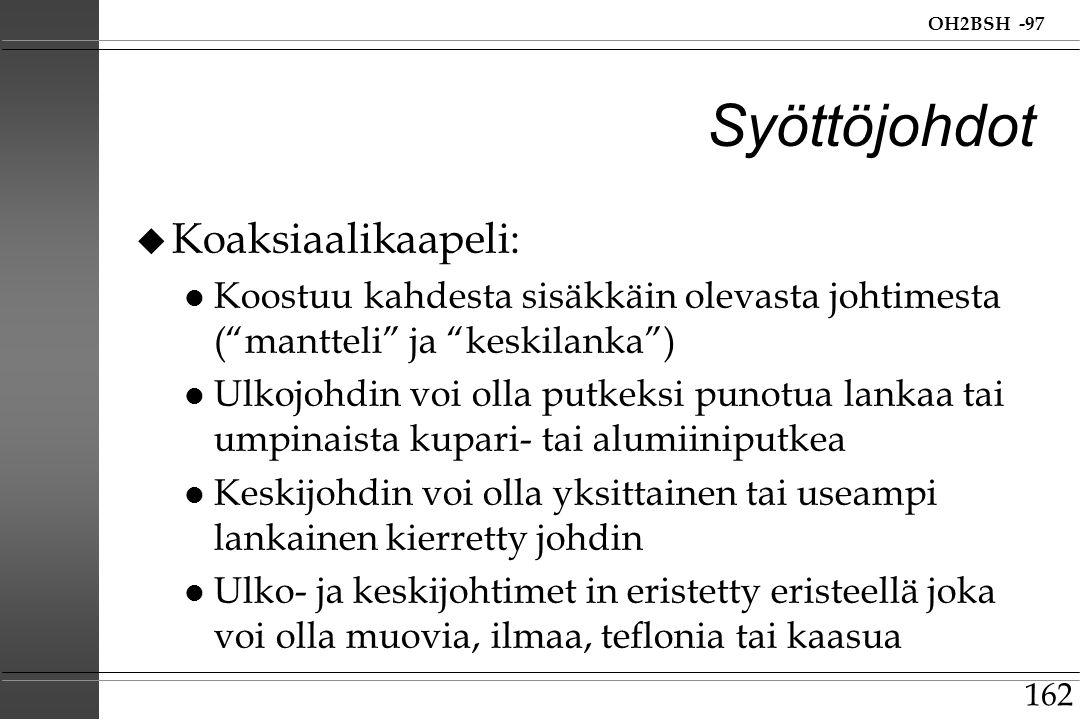 Syöttöjohdot Koaksiaalikaapeli: