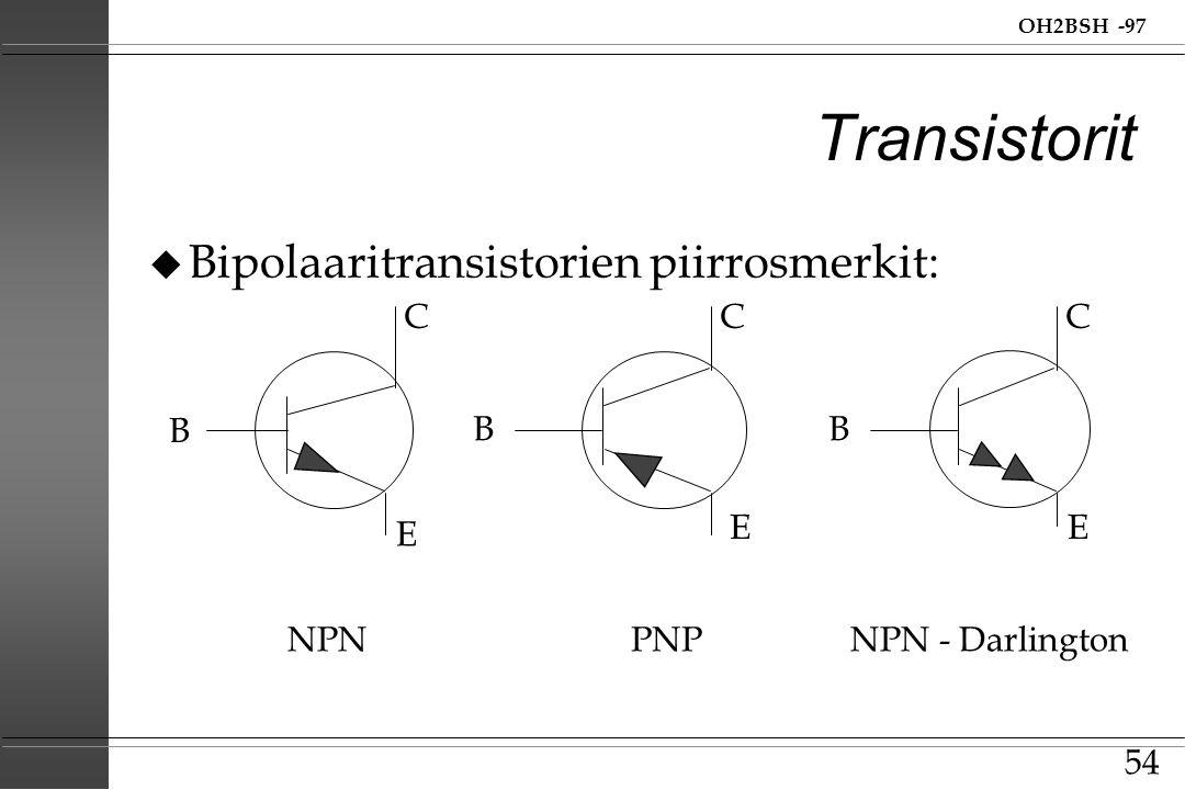Transistorit Bipolaaritransistorien piirrosmerkit: C C C B B B E E E