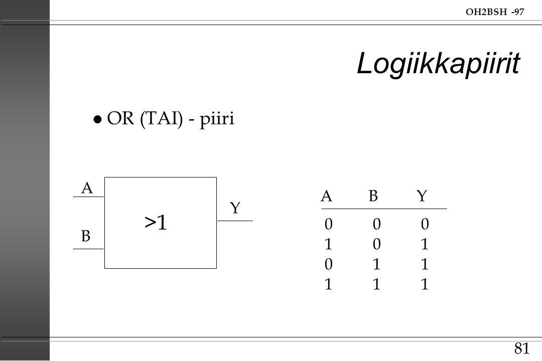Logiikkapiirit >1 OR (TAI) - piiri A A B Y Y 0 0 0 B 1 0 1 0 1 1