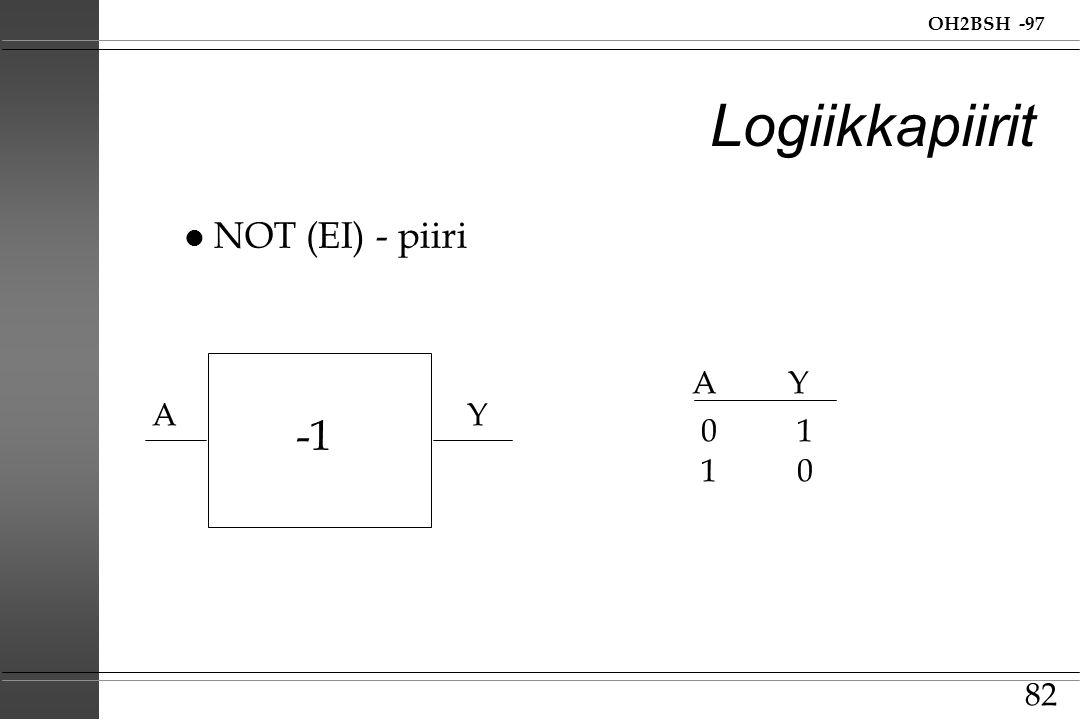 Logiikkapiirit NOT (EI) - piiri A Y A Y -1 0 1 1 0