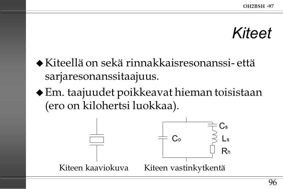 Kiteet Kiteellä on sekä rinnakkaisresonanssi- että sarjaresonanssitaajuus. Em. taajuudet poikkeavat hieman toisistaan (ero on kilohertsi luokkaa).