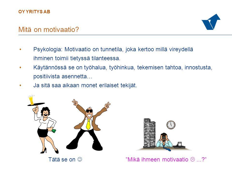 Mitä on motivaatio Psykologia: Motivaatio on tunnetila, joka kertoo millä vireydellä. ihminen toimii tietyssä tilanteessa.