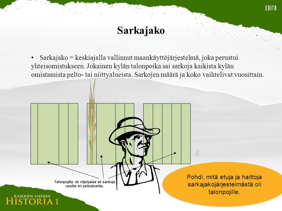 Talonpojilla oli viljelyalaa eli sarkoja useilla eri peltoalueilla.