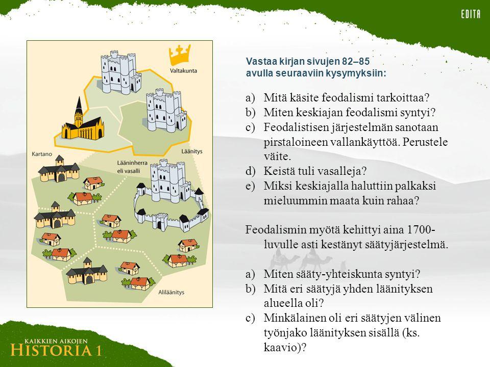 Mitä käsite feodalismi tarkoittaa Miten keskiajan feodalismi syntyi