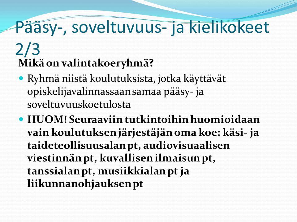 Pääsy-, soveltuvuus- ja kielikokeet 2/3