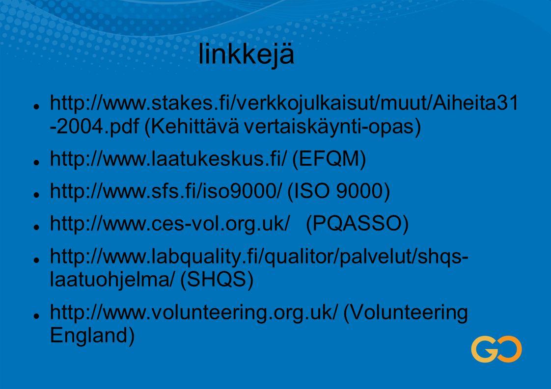 linkkejä http://www.stakes.fi/verkkojulkaisut/muut/Aiheita31 -2004.pdf (Kehittävä vertaiskäynti-opas)