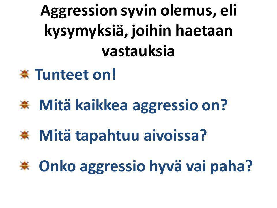 Aggression syvin olemus, eli kysymyksiä, joihin haetaan vastauksia