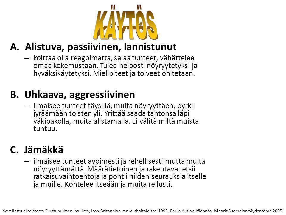 KÄYTÖS A. Alistuva, passiivinen, lannistunut
