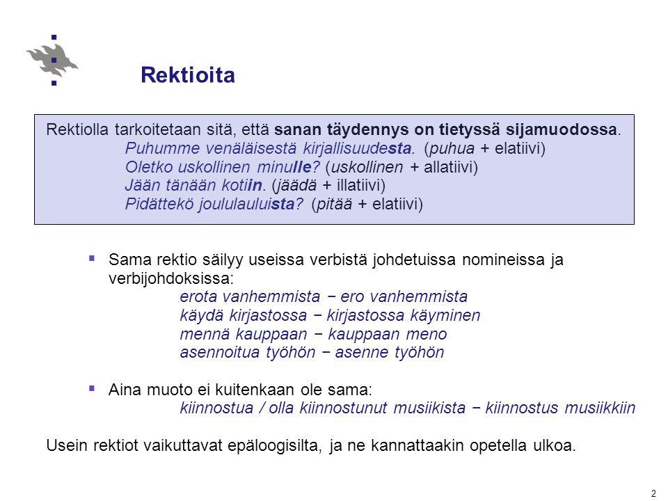 Rektioita Rektiolla tarkoitetaan sitä, että sanan täydennys on tietyssä sijamuodossa. Puhumme venäläisestä kirjallisuudesta. (puhua + elatiivi)