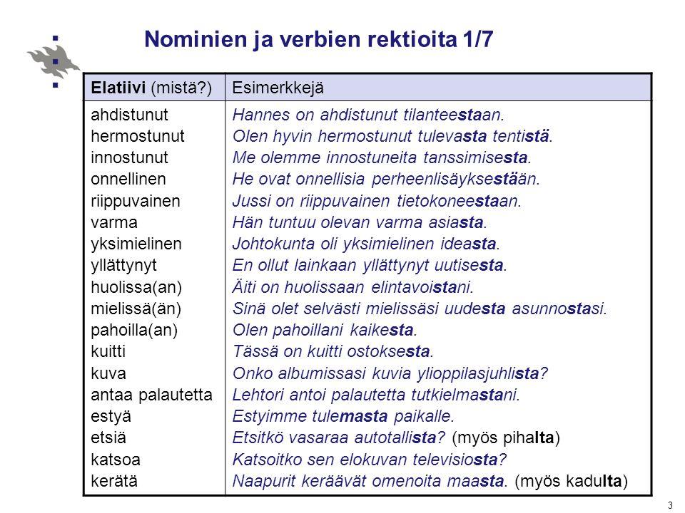 Nominien ja verbien rektioita 1/7
