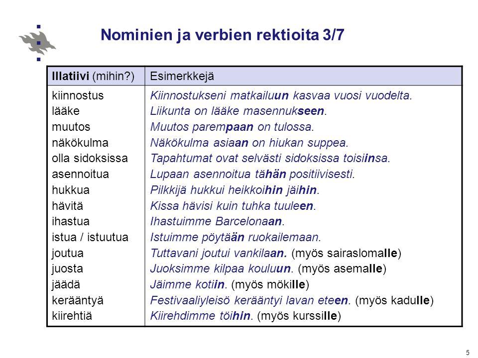 Nominien ja verbien rektioita 3/7