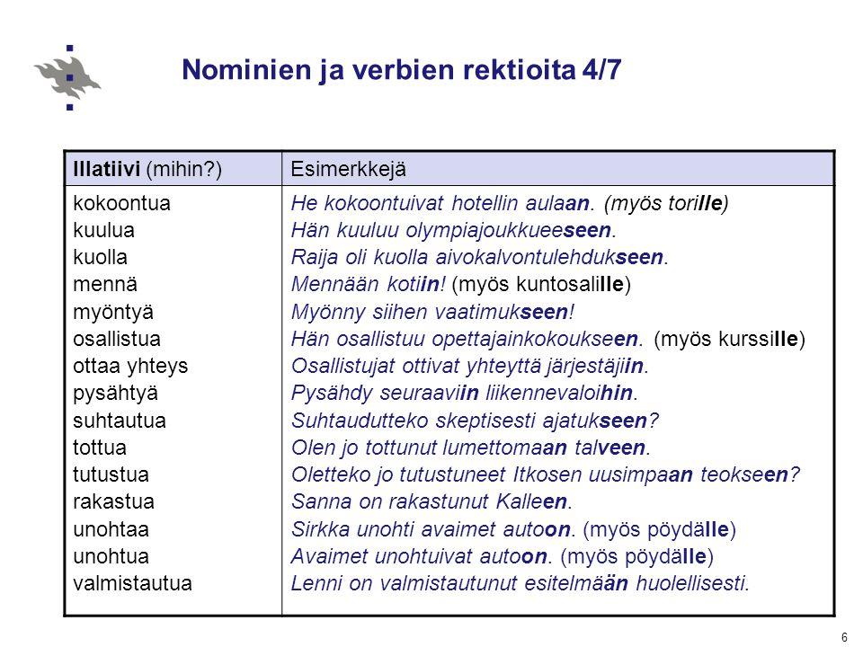 Nominien ja verbien rektioita 4/7