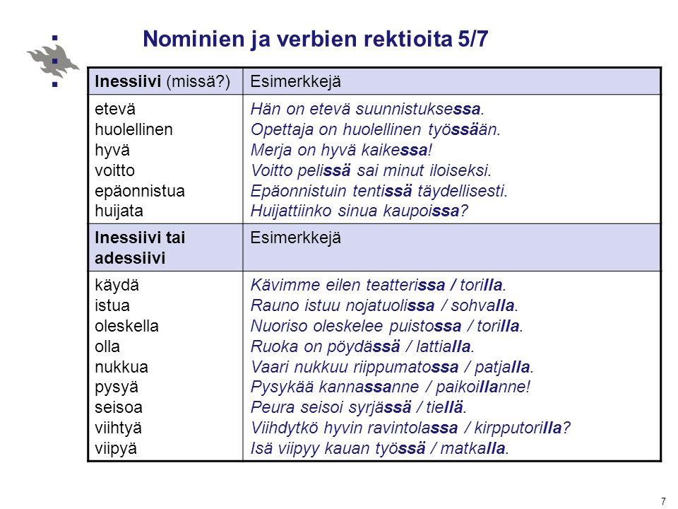 Nominien ja verbien rektioita 5/7